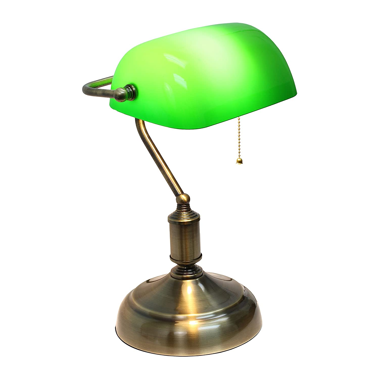 Simple Designs LT3216-GRN Executive Banker's Glass Shade Desk Lamp, Antique Nickel/Green