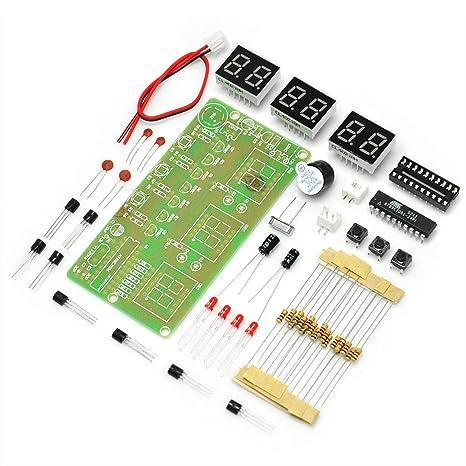 7c79c5e415c9 Gikfun AT89C2051 - Kit de reloj electrónico digital LED de 6 bits para  soldar y practicar
