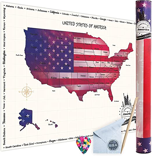 WNG Brands Scratch-Off USA Travel Map - Large Map of The United States for  The Wall, Scratch-Off Poster of The USA for Travel, Personalized Travel ...