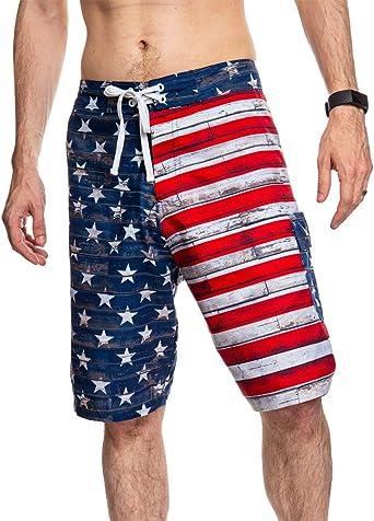 Amazon Com Pantalones Cortos Para Hombre Diseno De La Bandera De Estados Unidos Mediano Calhoun Clothing