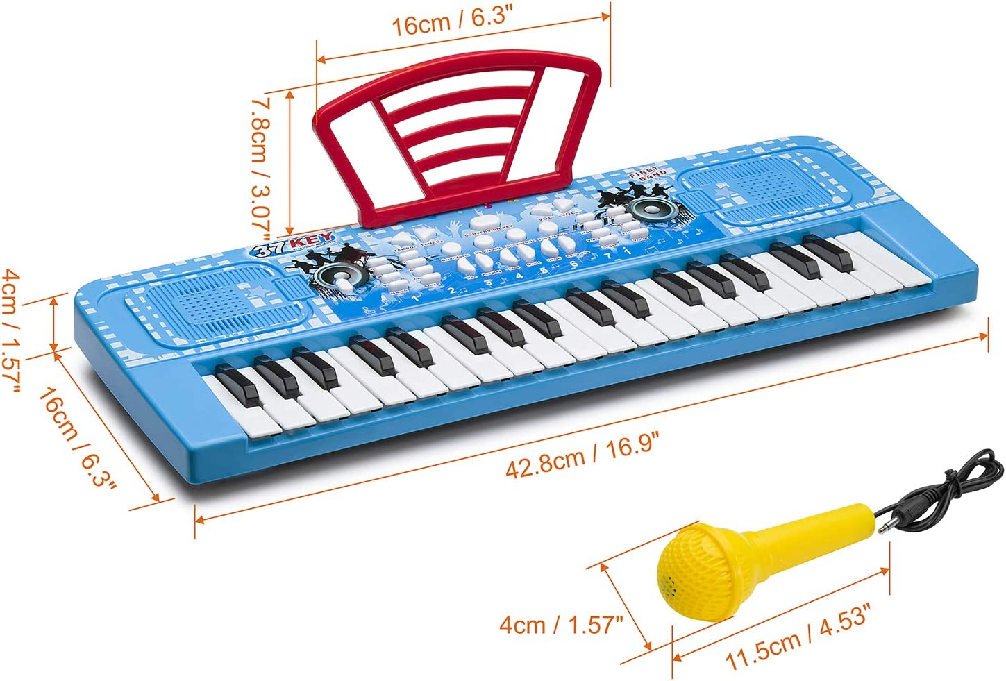 ROFAY Kids Piano 37 Keys Multi-Function Electronic Organ Musical Kids Piano Teaching Keyboard for Toddler Early Learning Educational with MP3 Music Function for Kids Children Toys