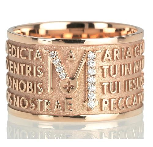 gamma completa di articoli design senza tempo calzature Anello Tuum Tuam in Oro rosa 9kt e diamanti con Ave Maria in ...