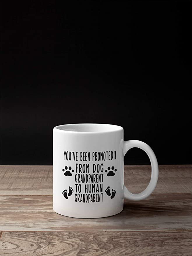Amazon.com: Baby Reveal Mug, Pregnancy Announcement Gift, Dog Grandparent to Human Grandparent Mug: Kitchen & Dining