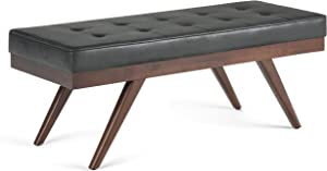 SIMPLIHOME Pierce 48 inch Wide Rectangle Ottoman Bench Distressed Black Tufted Footrest Stool, Faux Air Leather for Living Room, Bedroom, Mid Century