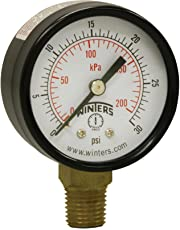 "Winters PEM Series Steel Dual Scale Economical All Purpose Pressure Gauge with Brass Internals, 0-30 psi/kpa, 2"" Dial Display, -3-2-3% Accuracy, 1/4"" NPT Bottom Mount"