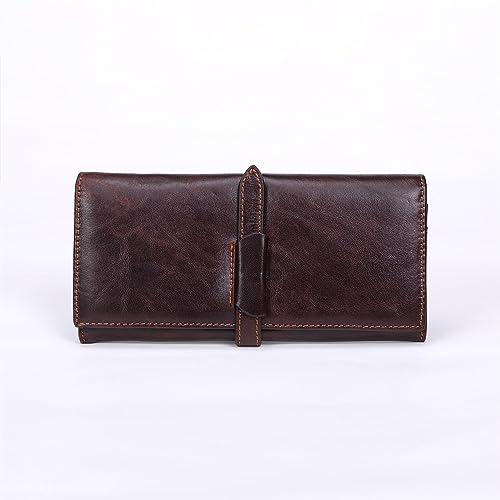 Billetera, Portatarjetas multi de cuero Vintage cosido a mano de cuero de la cartera (