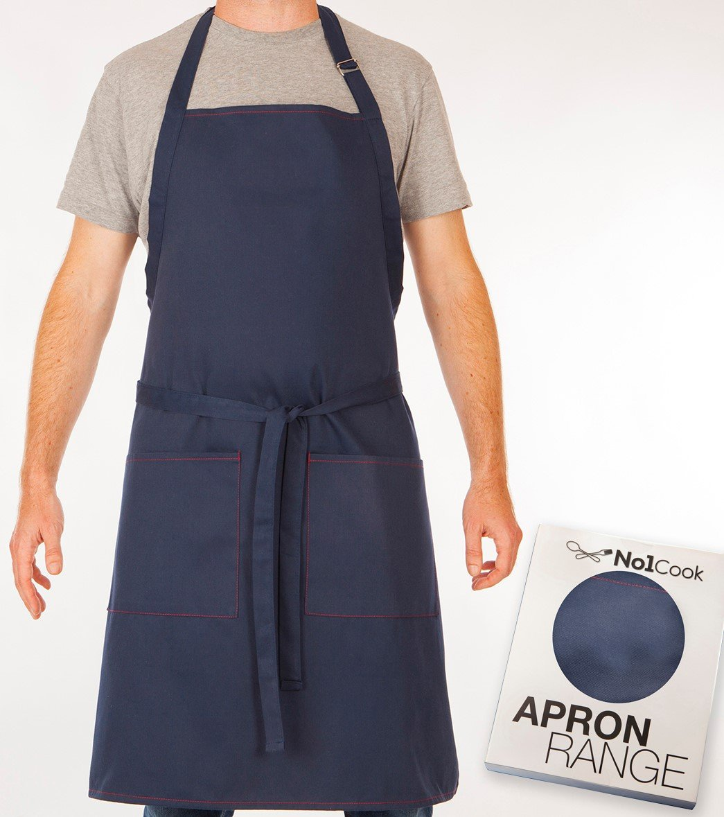 amazoncom cooking apron by no1cook u0026 comfortable blue chef apron for men and women bib apron with pockets and adjustable neck suitable - Cooking Aprons