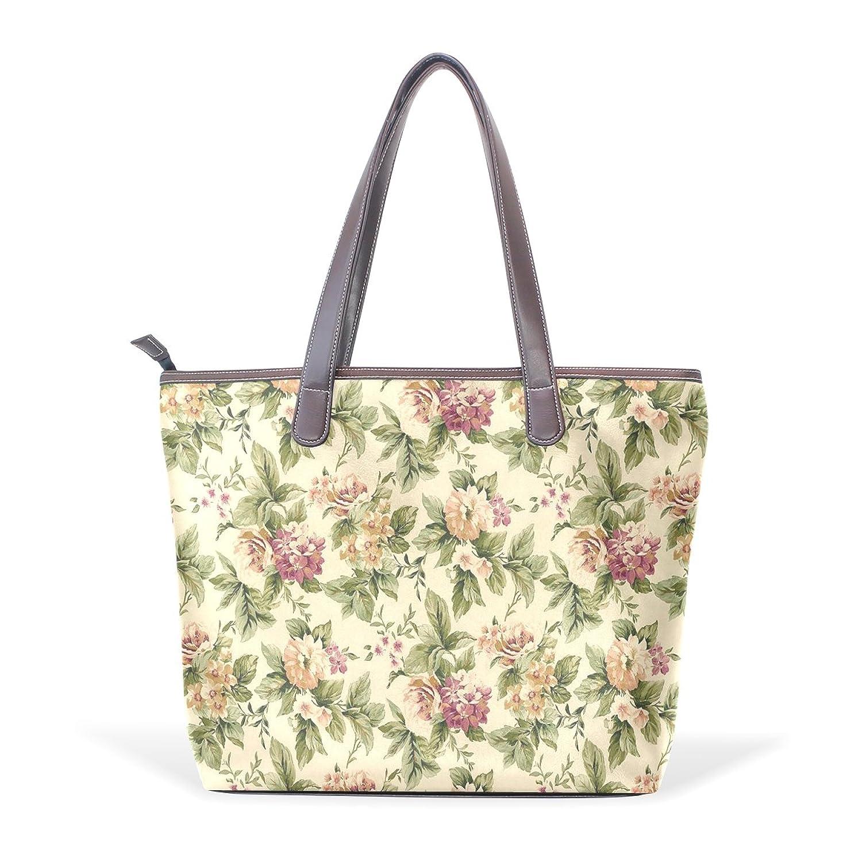 Womens Leather Tote Bag,Shabby Chic Court Vintage Floral,Large Handbag