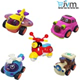 JVM Unbreakable Set of 5 Friction Powered Automobile Car Helicopter Plane Train Toys for Kids