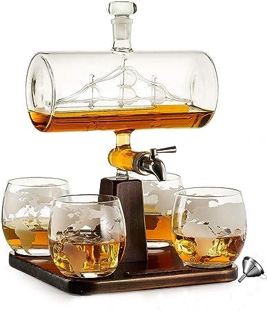HOUSHIYU-521 Whisky Licorera Embarcacion Conjunto, 1000ML Jarra Alcohol Dispensador con 4 Vasos, Base De Pino, Vierta El Embudo Y Acero Inoxidable ...