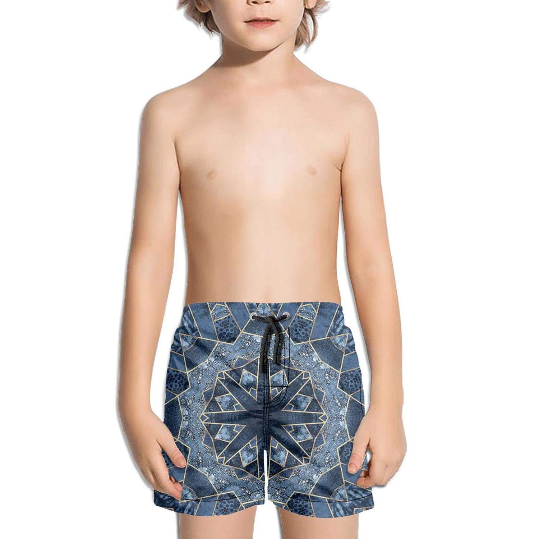 FullBo Popular Blue Retro Mandala Little Boys Short Swim Trunks Quick Dry Beach Shorts
