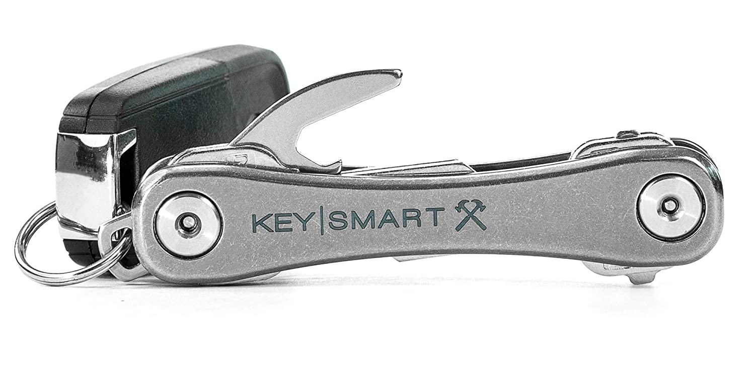 KeySmart Rugged - Multi-Tool Key Holder with Bottle Opener and Pocket Clip (Up to 14 Keys, Titanium) Dreme Corp KEYS607TI-BRK