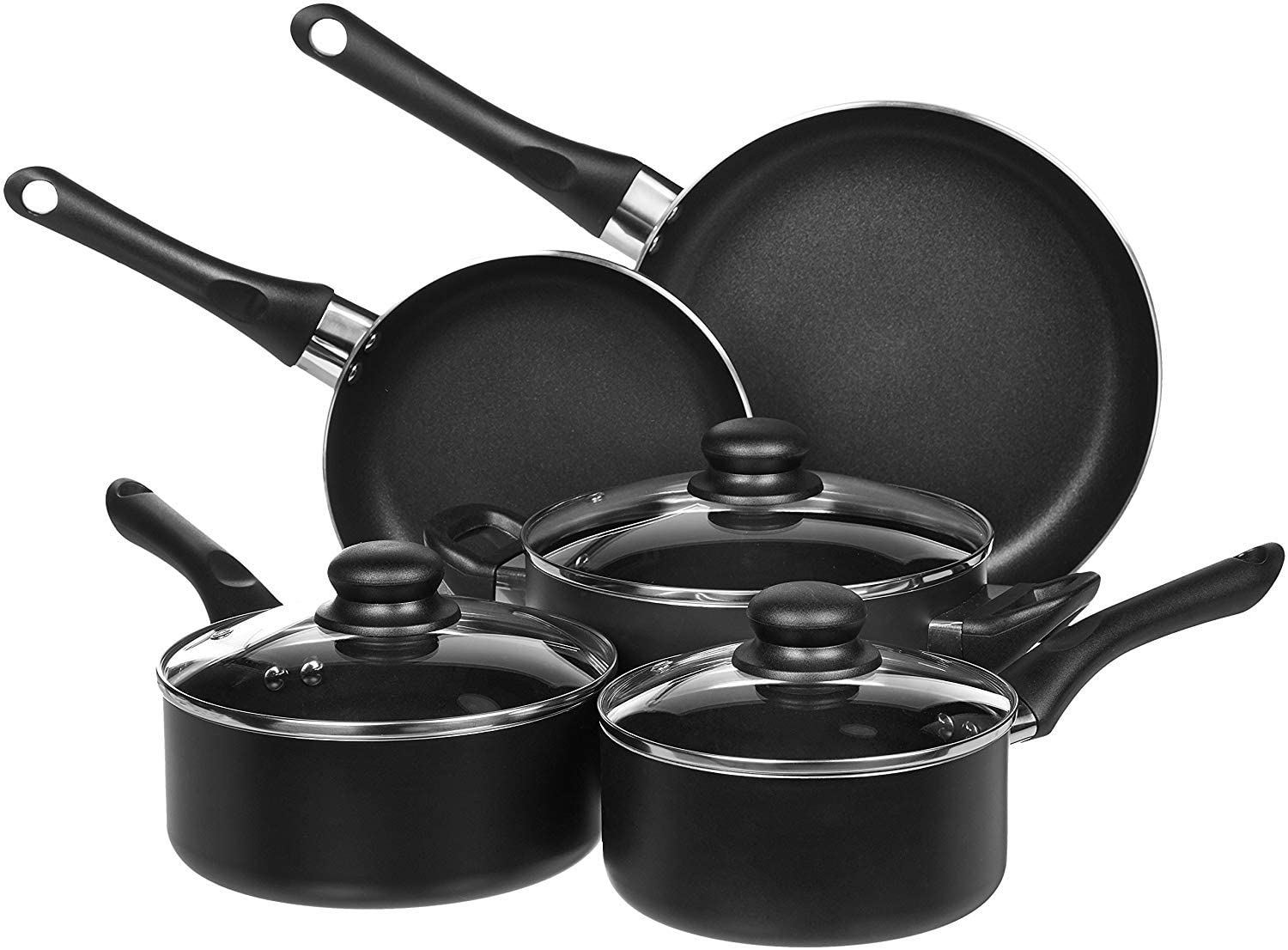 AmazonBasics Non-Stick Kitchen Cookware Set (8 Piece)