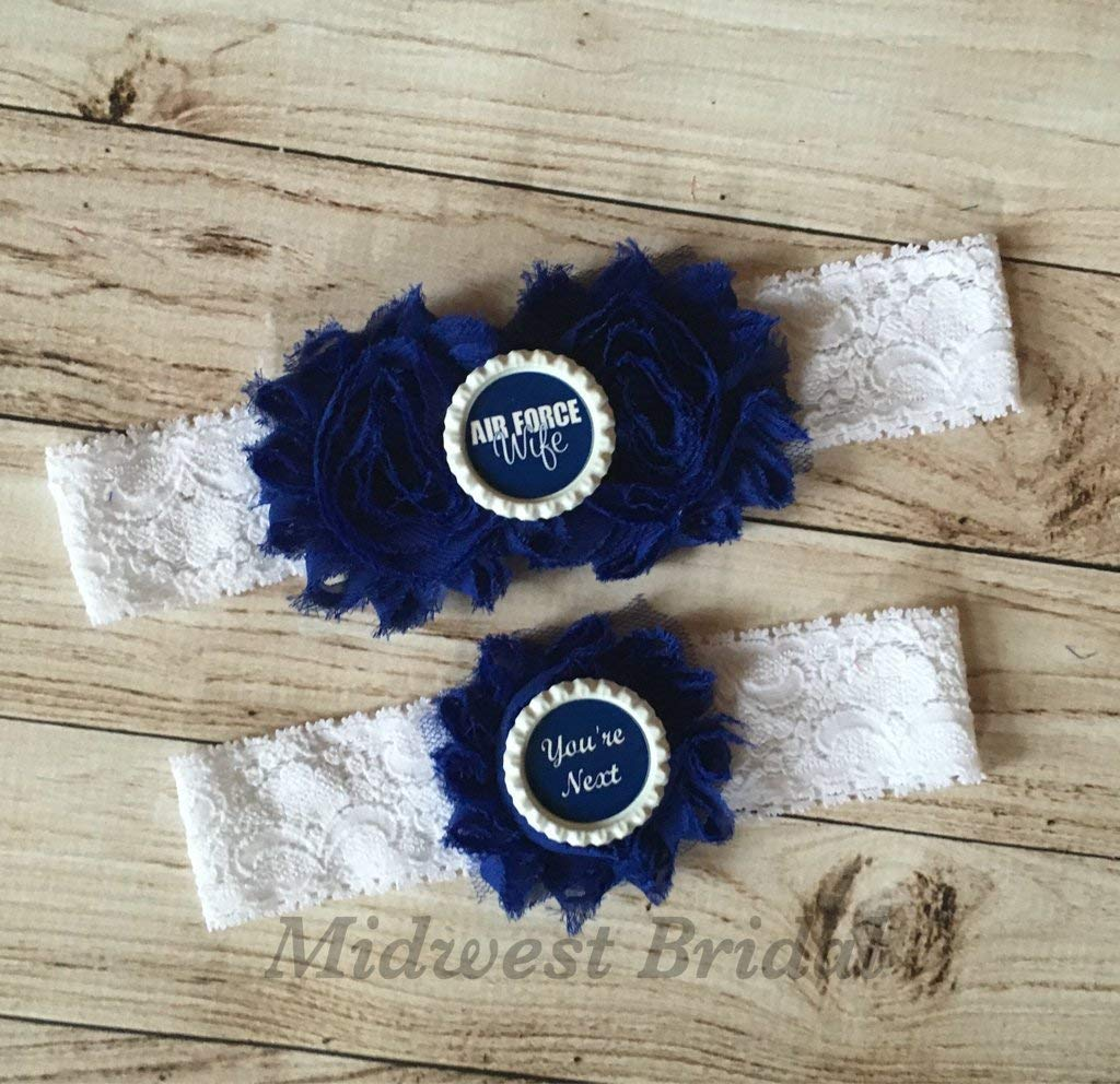 Air Force Wife Custom White Lace Wedding Garter USAF