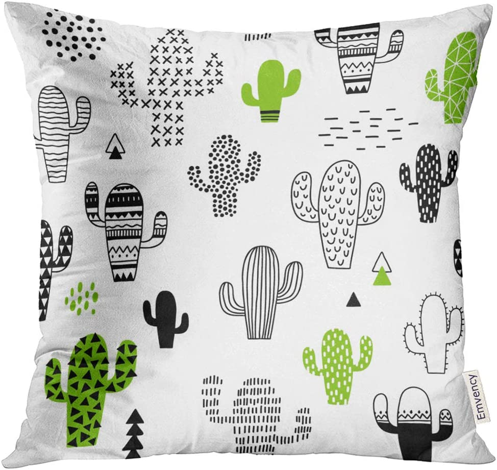 Golee Throw Pillow Cover Black Desert Cute Hand Drawn With Cactus White Hipster Geometric Decorative Pillow Case Home Decor Square 16x16 Inches Pillowcase Home Kitchen