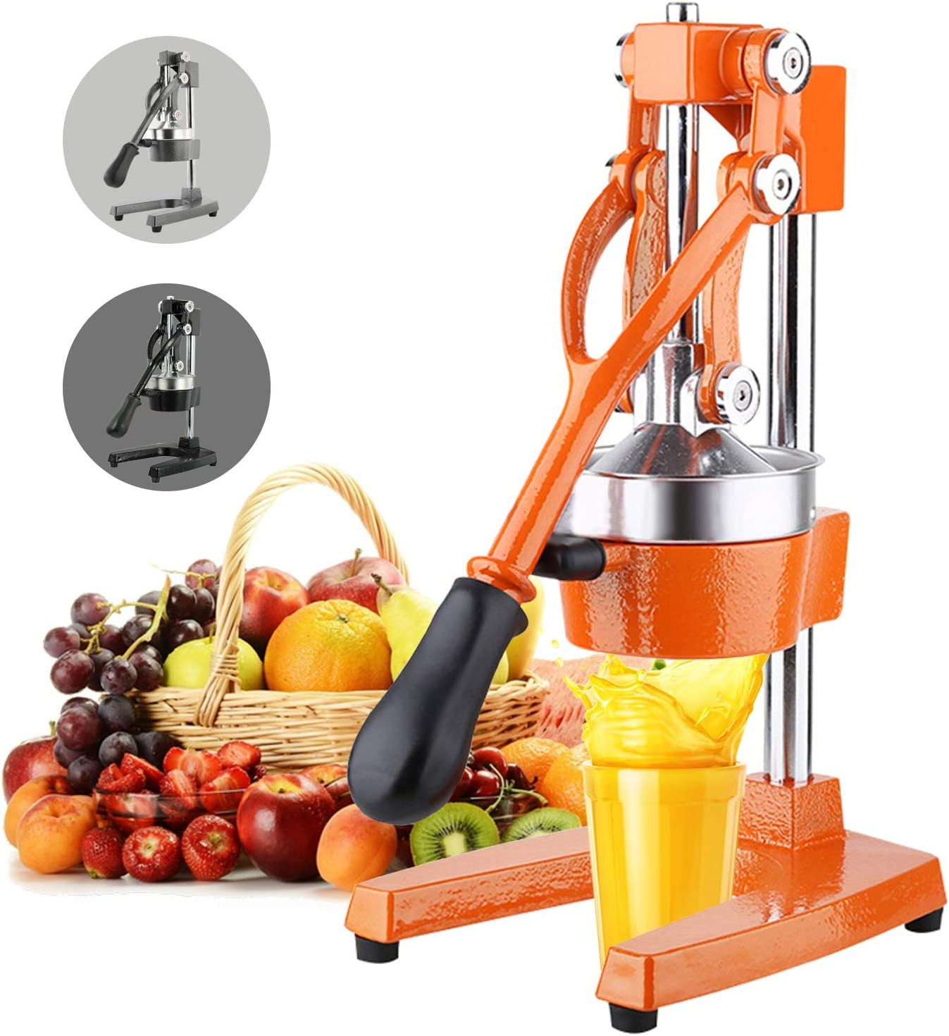 Commercial Grade Citrus Juicer Heavy Duty Manual Fruit Juicer Hand Press lemon and Orange squeezer Pomegranate Press Stand (orange)
