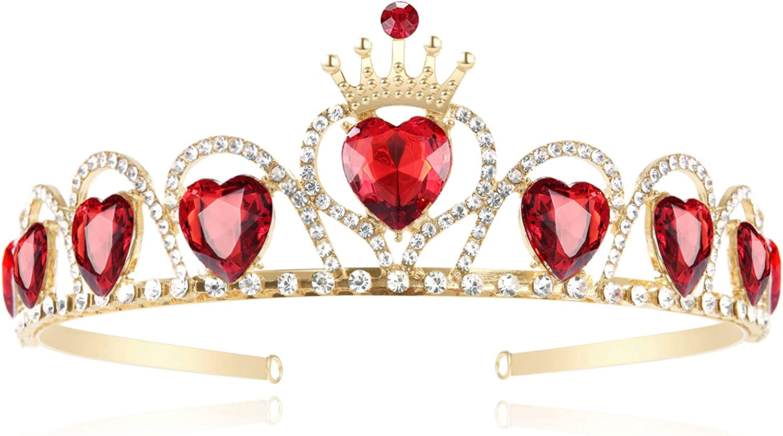 FRTTVM Evie Red Heart Tiara Descendants Costume Headdress Queen of Hearts Gold Crown for Girls Teens Halloween Parties