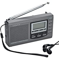 AM/FM Portable Shortwave Radio, COVVY Battery Operated 9 Band FM Transistor DSP Stereo Radio Digital Tuning Radio with Sleep Timer, Alarm Clock, LCD Display, Loud Speaker & Earphone (Grey)