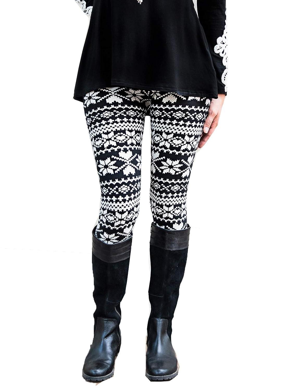 Mayah Kay Girls Black White Motif Print Stretchy Trendy Leggings S-XL