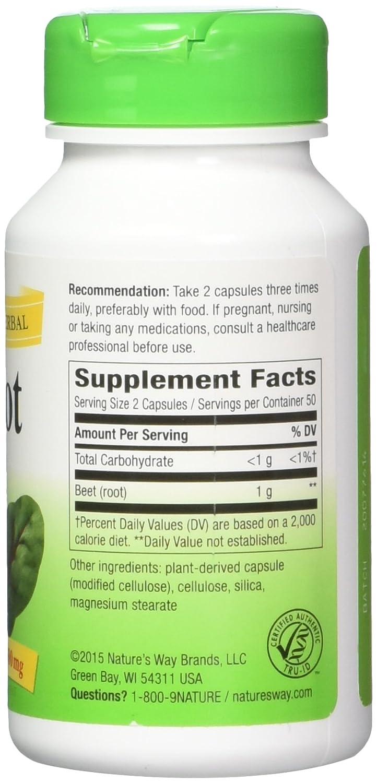 Nature s Way Beet Root 500 mg, 100 Vegetarian Capsules, Pack of 3