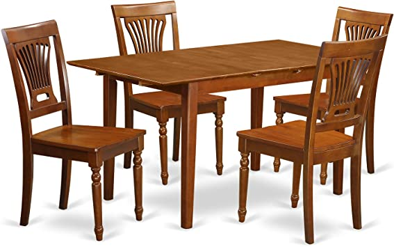 PSPL5-SBR-W 5 PC Kitchen dinette set Table with Leaf and 4 Kitchen Dining  Chairs