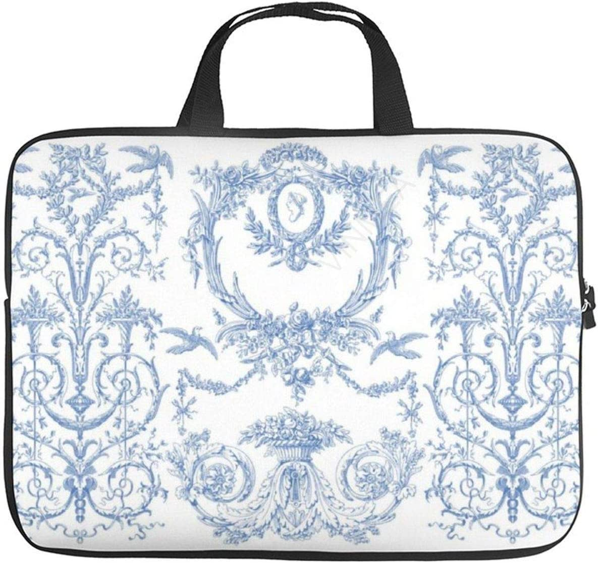 17 Inch Laptop Bag with Handle Capetian Toile Blueberry Laptop Briefcase for Office School Men & Women Teens