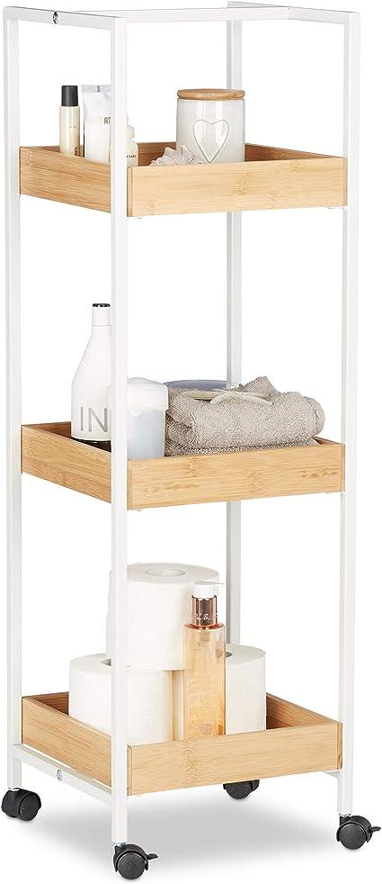 Relaxdays Estantería móvil, Tres estantes, con Ruedas, Multi-usos, Madera y Metal, 89 x 30 x 30 cm, Pino, Marrón y Blanco, Estándar