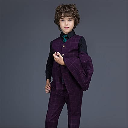 7030b32ce Yanlu Boys Suits Plaid Formal Kids Suit With Blazer Vest And Pants ...