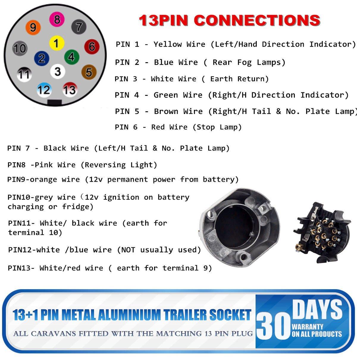 7 To 13 Pin Towing Socket Maso Trailer Plug Waterproof Wiring A Caravan Electrics
