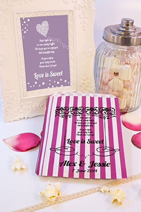 Personalizado boda bolsas de dulces amor es dulce poema frontera dulces carrito favor de la boda