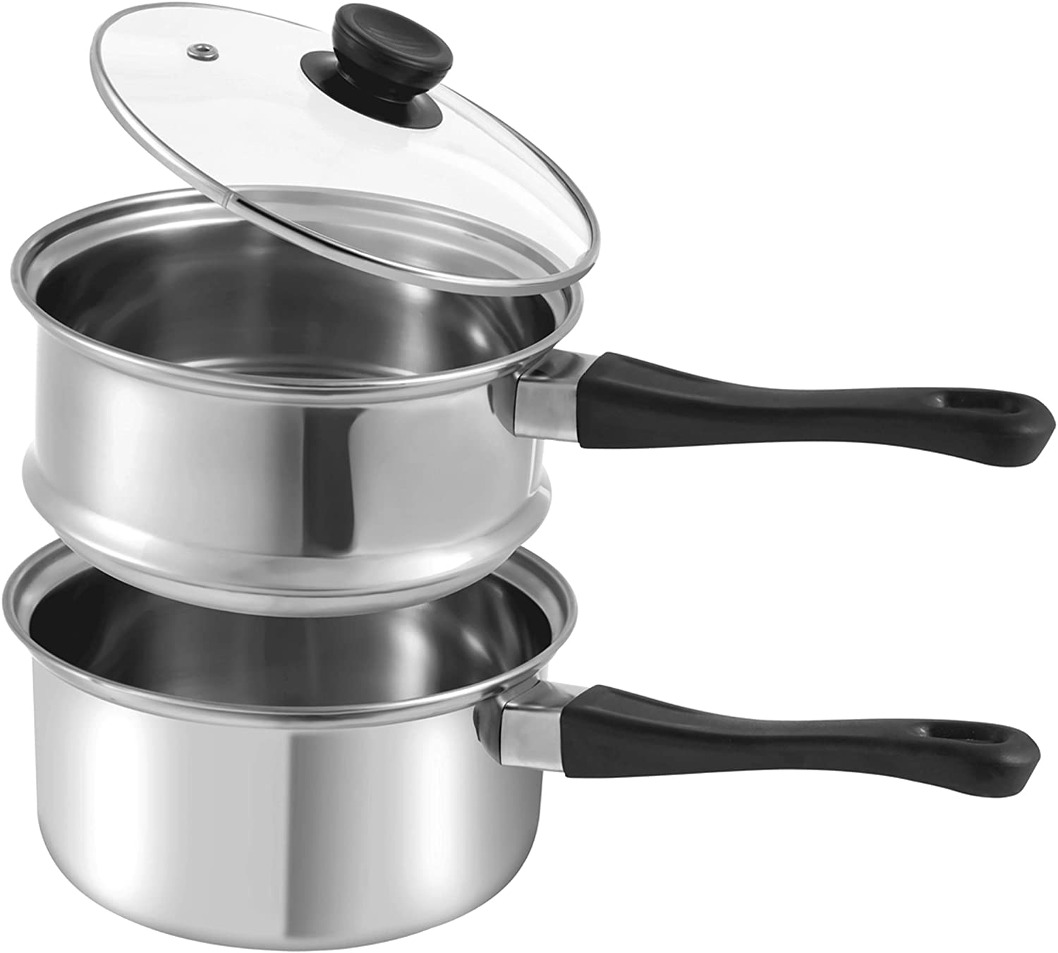 La Patisserie 1.5 Quart Double Boiler w/ 4 Chocolate Molds - 3 Piece Stainless Steel Double Boiler Pot for Melting Chocolate, Candle Making, Soap Melting and Wax Melting
