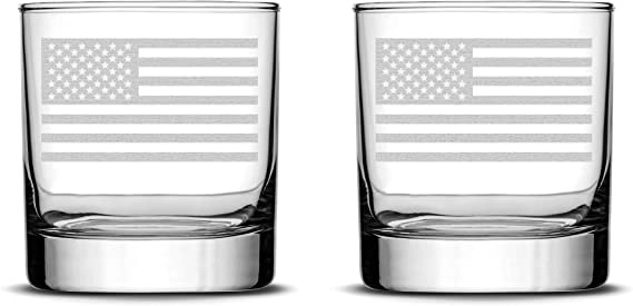 Integrity Bottles Set of 2 Premium American Flag Whiskey Glasses