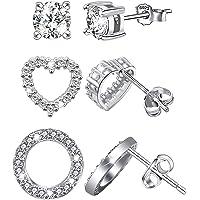 Cubic Zirconia Stud Earrings Set - Sterling Silver Hypoallergenic CZ Round Circle Heart Stud Earrings Set for Women…
