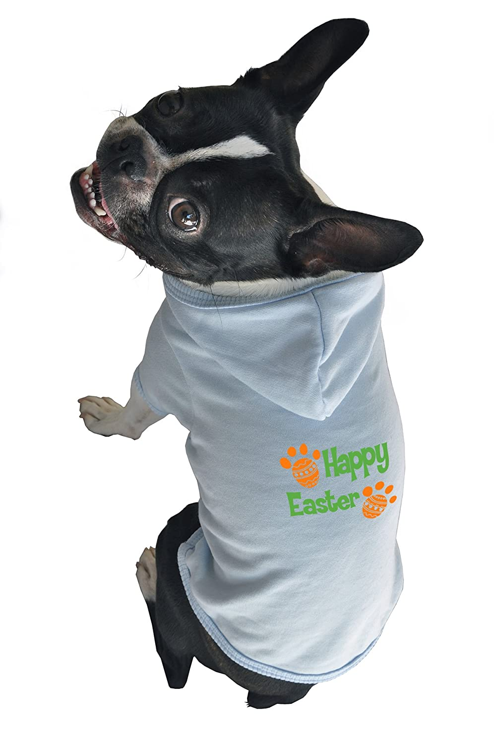 Ruff Ruff and Meow Large Dog Hoodie, Happy Easter, bluee