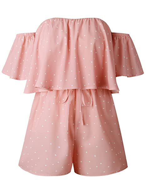 793a304a8bc Short Sleeve Off The Shoulder Polka Dot Ruffled Ruffle Hem Bodysuit Playsuit  Romper Jumpsuit Shorts Pink