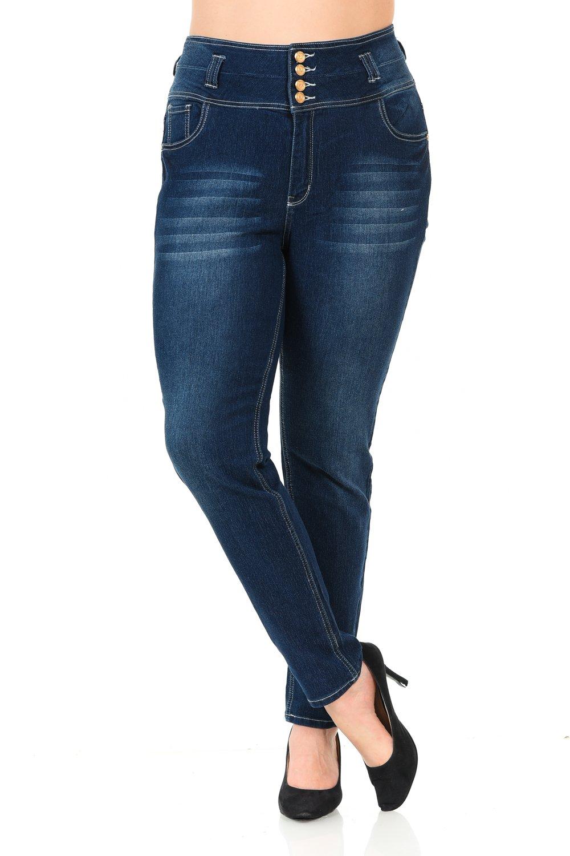 Pasion Women's Jeans - Plus Size - High Waist - Push Up - Style N606 - Blue - Size 18