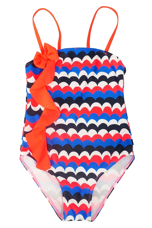 Girls One Piece Swimsuit UPF 50+ Sun Protection Swimming Suit Ruffle Beachwear Happy Cherry