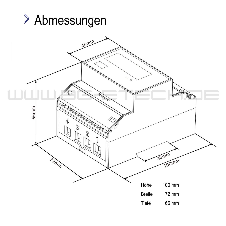 SDM72DR-MID geeichter digitaler Drehstromz/ähler mit momentan Lastanzeige und Tagesz/ählfunktion r/ückstellbar