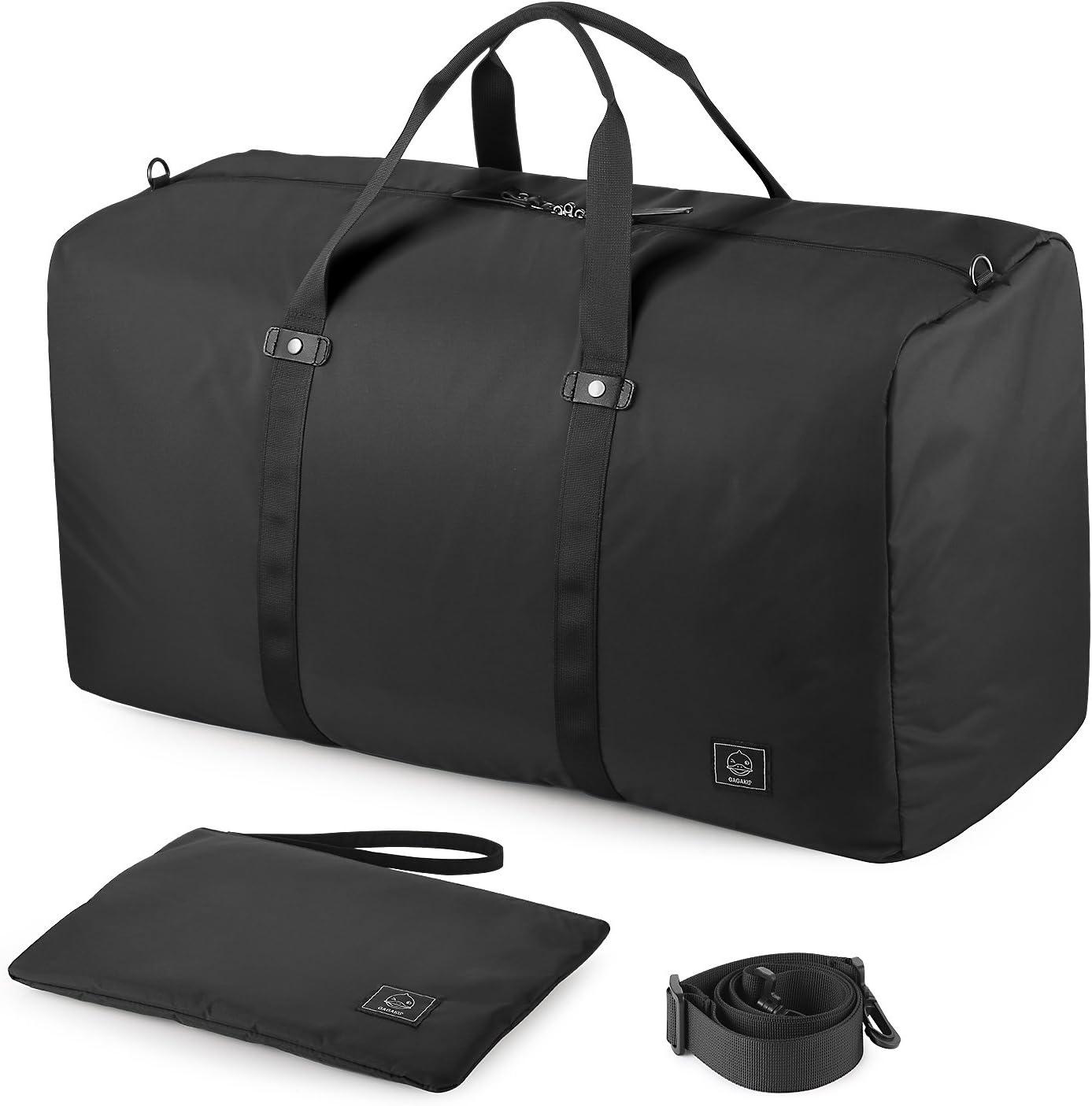 GAGAKU 80L Bolsa de Viaje Plegable Bolsas Grande Duffel Bag para Avión Cabina Impermeable Nylon XXL - Negro
