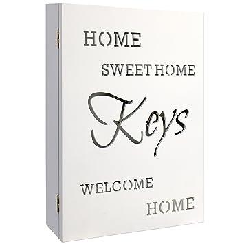 MultiStore Elegante Caja para Llaves (Madera Buzón Home Sweet Home en Blanco 22 X