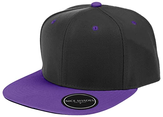 Nice Shades L.O.G.A. Plain Adjustable Snapback Hats Caps (Many Colors).  Black Purple 08fb437a973a