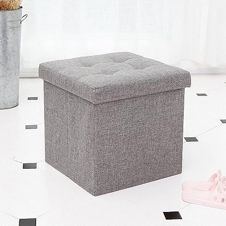 Ottoman With Storage,Storage Ottoman Linen Folding Stool,Storage Cube  Basket Bins Organizer Containers