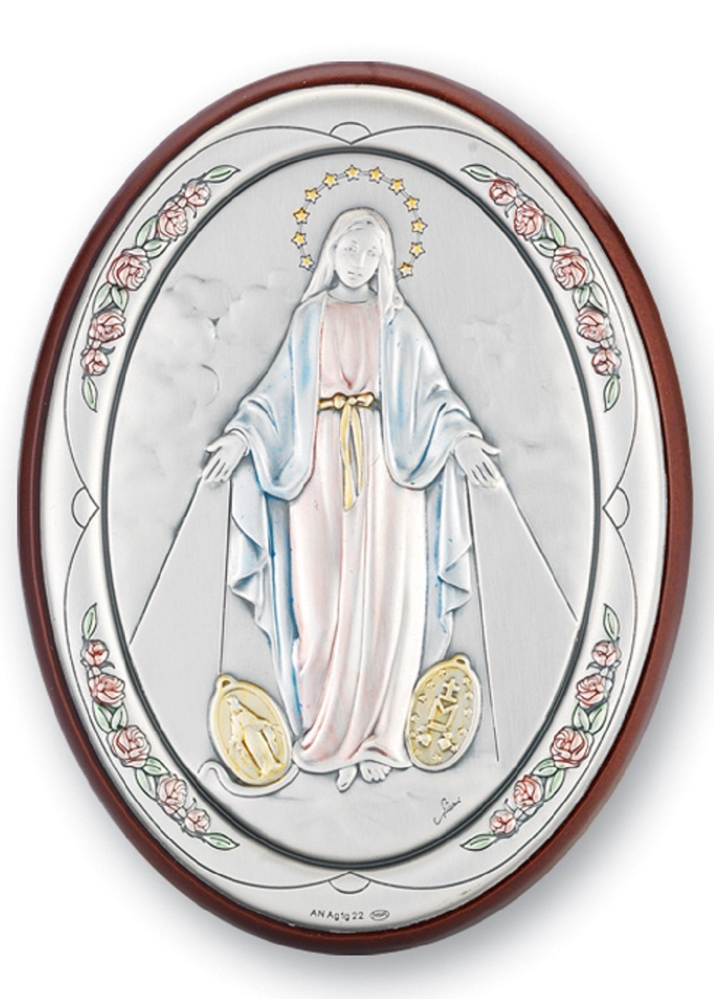Our Lady of the Miraculous Medal Sterling Silver Plaque by HMH001
