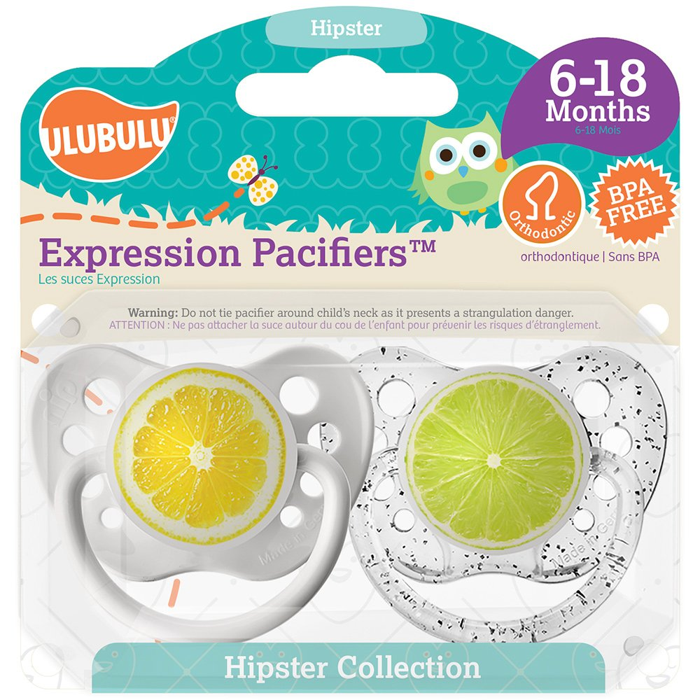 Ulubulu Expression Pacifier Set, Unisex, Lemon and Lime, 6-18 Months