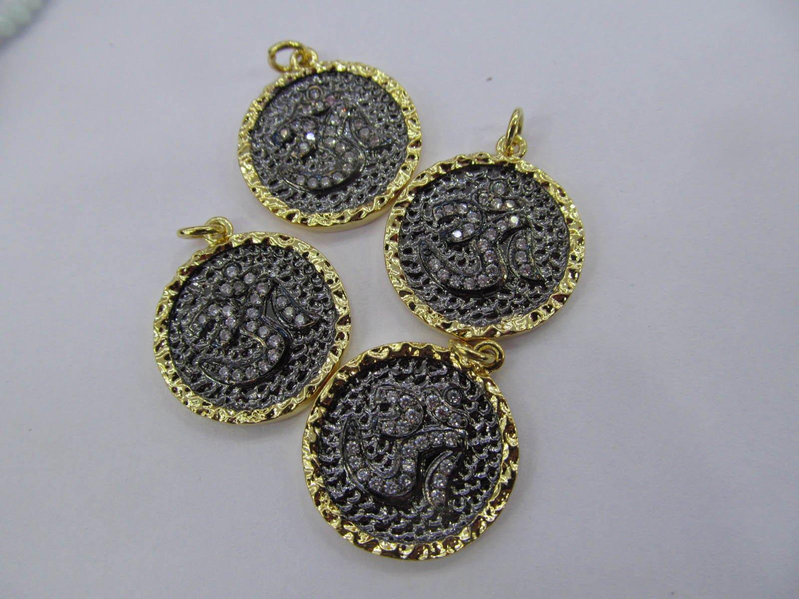 12pcs 20mm Micro Pave Diamond Connectors, Pave Black Diamond CZ , round disc pave CZ black Pendant