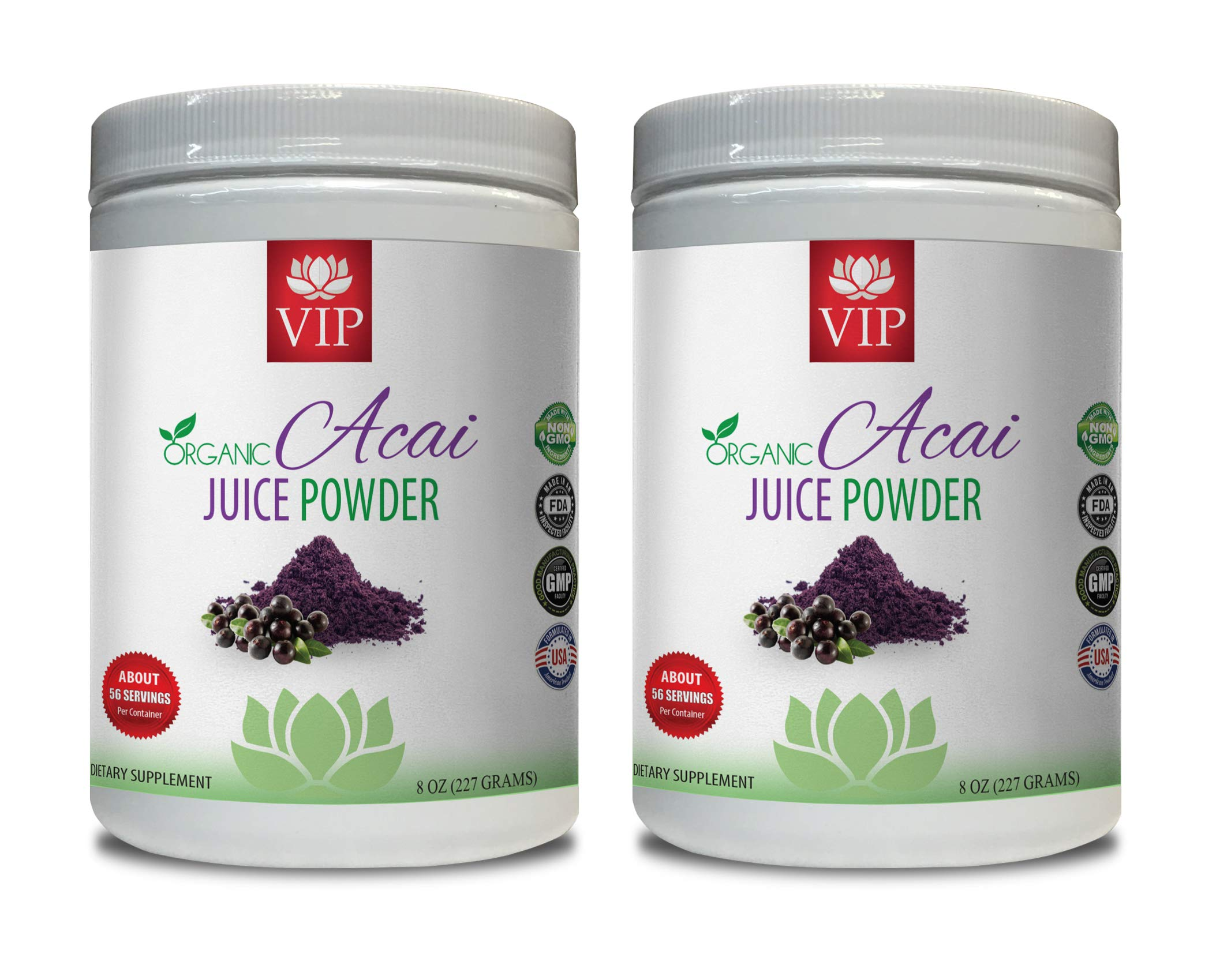 Energy Booster Powder - Organic ACAI Juice Powder - acai Fruit Powder - 2 Cans 16 OZ (130 Servings)