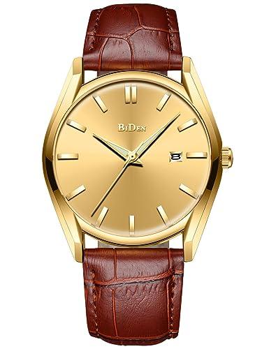 Para hombre diseño Simple relojes marrón hombres impermeable Lujo Fecha Calendario muñeca reloj Hombre Business Casual Fashion analógico vestido cuarzo ...