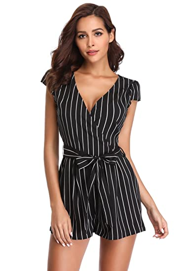 0a624d74daf3 MISS MOLY Rompers for Women Deep V Neck Cap Short Sleeves Crossover Mid  Rise Casual Vertical