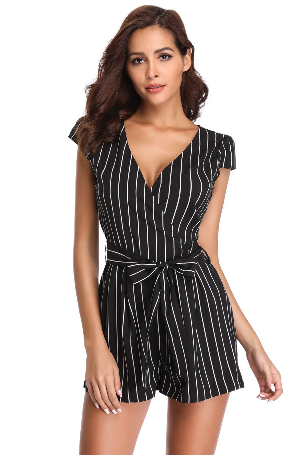 MISS MOLY Rompers for Women Deep V Neck Cap Short Sleeves Crossover Mid Rise Casual Vertical Jumpsuit with Belt