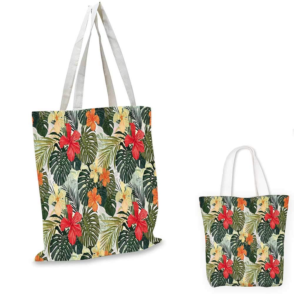 14x16-11 Leaf canvas messenger bag Hawaiian Summer Tropical Island Vegetation Leaves with Hibiscus Flowers canvas beach bag Green Orange and Yellow